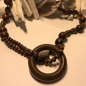 Brown Wooden Bead & Hoop Necklace